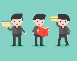 Affärsman med bok, affärskaraktär redo att använda visdomskoncept