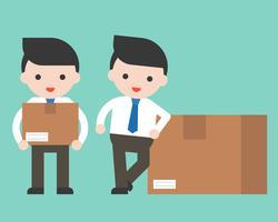 Netter Geschäftsmann oder Manager mit Paketkasten, gebrauchsfertiger Charakter