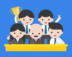Gruppe glückliche Geschäftsleute, CEO und sein gewinnender Preis des Teams