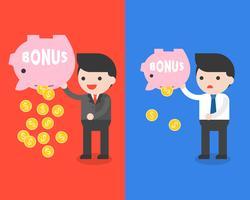 Affärsman som bär bonus spargris och guldmynt, spara pengar koncept