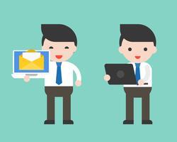 Geschäftsmann und Laptop, gebrauchsfertiger Charakter