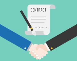 Skaka hand och kontrakt med penna, framgångsrik affärsidé vektor