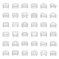 Soffa och stol, tunn linje ikonuppsättning