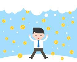 Der Geschäftsmann springend mit Glück, weil Goldmünzen fallen