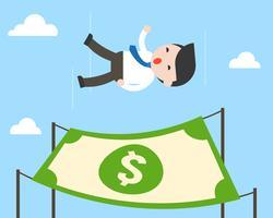 Freier Fall des netten Geschäftsmannes vom Himmel mit Dollarbanknote für die Landung