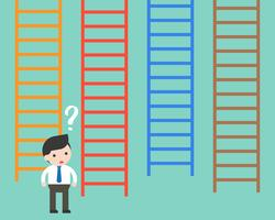 Geschäftsmann verwirrt zu wählen, welche Leiter, Entscheidungsgeschäftskonzept machend
