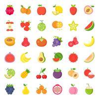 Söt frukt och bär, platt ikonuppsättning 2