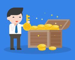 Affärsman håller stor nyckel och skatt, affärssituation