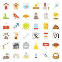 Pet shop relaterade och symbol platt ikon vektor