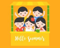 Glückliche Menschen mit zufälligem Sommerkostüm, hallo Sommerkonzept