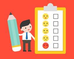 Geschäftsmanngriffbleistift mit Zufriedenheitsformular für Rückgespräch
