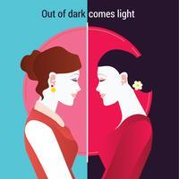 Glücklicher Kartini Tag. Frau am Spiegel der Zukunft
