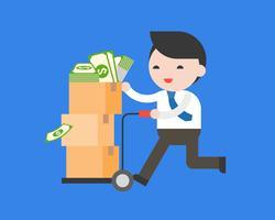 Affärsman hämtar vagnen full med dollar sedlar i paket