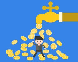 Geschäftsmann unter fallenden Münzen vom Wasservorsprung
