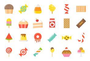 Godis och godis ikon satt 2/2 platt stil