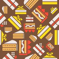 Seamless mönster bakverk produkt, citron, vit choklad och jordgubb kort kaka