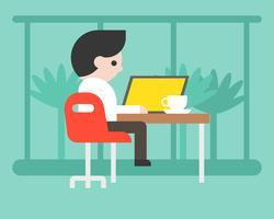 Geschäftsmann, der mit Laptop an der Kaffeestube, flaches Design des Arbeitsplatzkonzeptes arbeitet