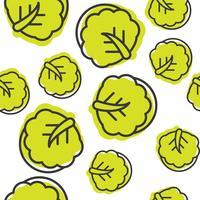 Seamless Outline Kinesisk kål vegetabiliskt mönster