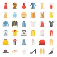 Flache Ikone der weiblichen Kleidung, der Tasche, der Schuhe und des Zubehörs stellte 3 ein vektor