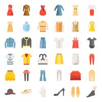 Kvinnlig kläder, väska, skor och tillbehör platt ikonuppsättning 3 vektor