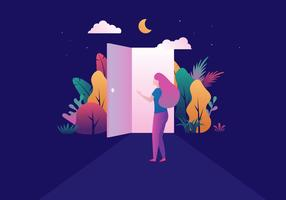 Mädchen öffnende Tür vektor