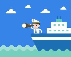 Geschäftsmann auf dem Kreuzschiff, das Ferngläser und Abnutzungskapitänhut hält vektor