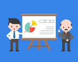 Söt affärsman presenterar företagsinformation med sin VD
