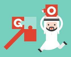 Netter arabischer Geschäftsmann holen Stichsäge, um das Pfeilpuzzlespiel abzuschließen