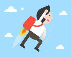 Affärsman som flyger med jetpack i himmel