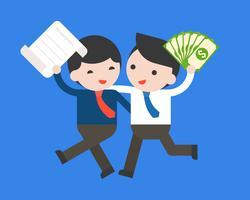 Glücklicher Geschäftsmann zwei halten eine Vertrags- und Geldanmerkungsbank, Geschäftsvereinbarungskonzept vektor