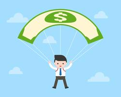 Geschäftsmann- und Gelddollarbanknoten-Fallschirmfliegen im Himmel, Geschäftskonzept