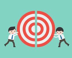 Två affärsmän driver en bit av stora mål tillsammans vektor