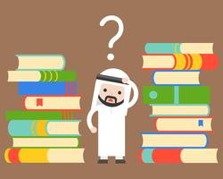 Netter arabischer Geschäftsmann, der verwirrtes Zweifelgesicht zwischen Stapel Büchern steht