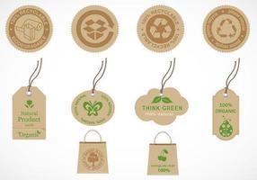 Återvinna och ekologiskt etikettvektorpaket