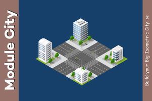 Städtischer isometrischer Wolkenkratzer vektor