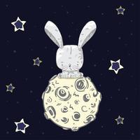 Söt baby kanin på månen vektor