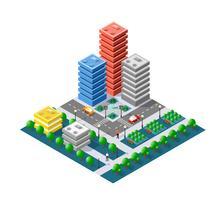 Färgglada 3D isometriska staden