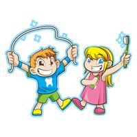 söta barn med tandvård