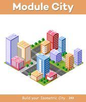 Färgglada 3D isometriska staden vektor