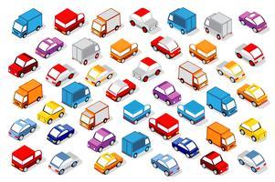 Färgglada 3d isometrisk uppsättning bilar