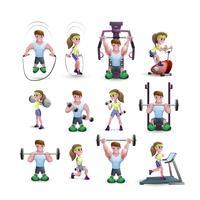 Ikonuppsättning av fitness karaktärer vektor