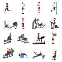 fitness gym träning ikoner uppsättning vektor