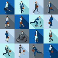 Gehen Arbeiter Icons Set