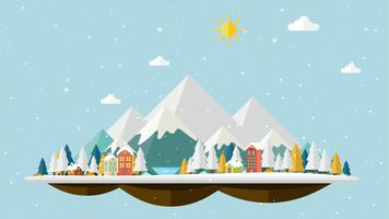 Flaches Design des Winterlandschaftshintergrundes
