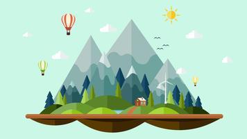 Flaches Design sonnig des Natur Landschaftshintergrundes vektor