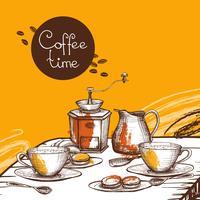 Kaffe tid bakgrundsaffisch vektor