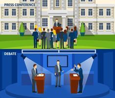 Politik två platta banderoller vektor
