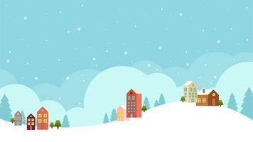 Flaches Design des Winterlandschaftshintergrundes