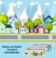 Provincial town landskap parallax redo bakgrund