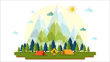 Flaches Design sonnig des Landschaftshintergrundes